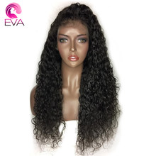 Eva Hair Water Wave Full Lace Human Hair Wigs With Baby Hair Pre Plucked Hairline Brazilian Remy Hair Wigs With Bleached Knots(China)