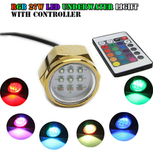 27W Titanium Alloy Boat Drain Plug Light RGB LED Underwater Light with Remote Control 12V 24V Pond Landscape Lamp new wifi remote control rgb color change 27w 9 3w led drain plug underwater light ip68 waterproof multi color wifi phone control