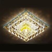 Simple Creative Crystal Aisle Ceiling Light 12W LED Luminarias Square Lustre LED Lampara Techo Living Room Porch Lamp KUMASTB