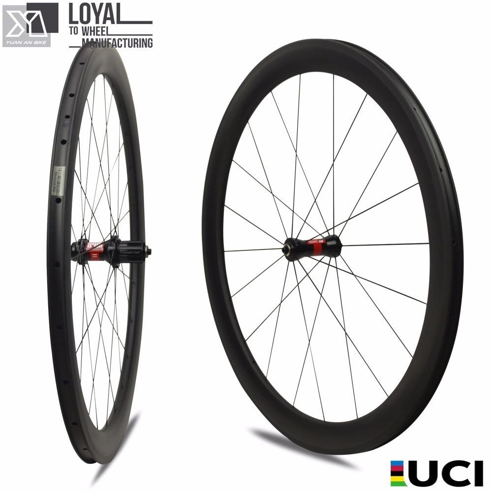 2017 Yuan'an wheelsets 25mm width 50mm depth DT SWISS 240sHub tubular carbon road bike wheels with pillar 1432 spoke