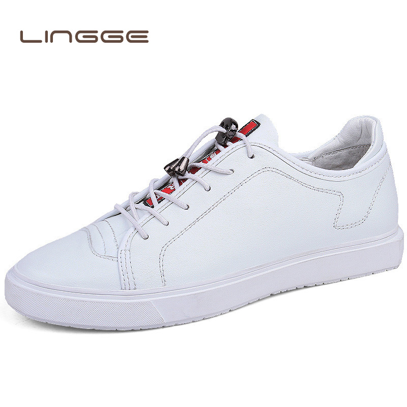 LINGGE Luxurious Brand Men Casual Shoes Fashion Breathable Male Shoes Genuine Leather Men Sneakers Black White