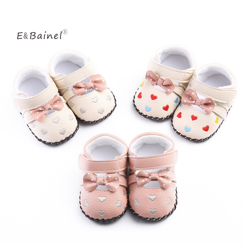 E&Bainel PU Baby Moccasins Heart Shape Print Baby Girl Shoes First Walker Shoes Toddler Baby Leather Moccasins