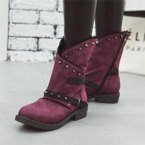 Image 5 - MORAZORA 2020 חדש אופנה קרסול מגפי נשים מסמרת zip אבזם פאנק נעלי עקבים נמוך ייחודי גלדיאטור סתיו מגפי גדול גודל 43