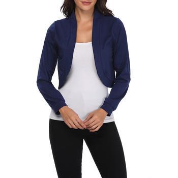 Damskie krótki płaszcz moda jednolity kolor z długim rękawem Slim Fit małe sweter Top