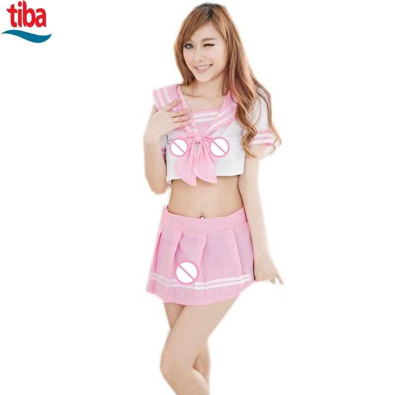 Sexy School Uniform Pink Sailor Costume New Sexy -5864