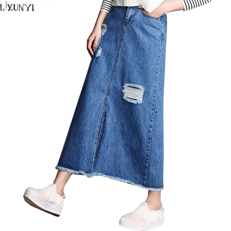 Jean Maxi Skirts Promotion-Shop for Promotional Jean Maxi Skirts ...