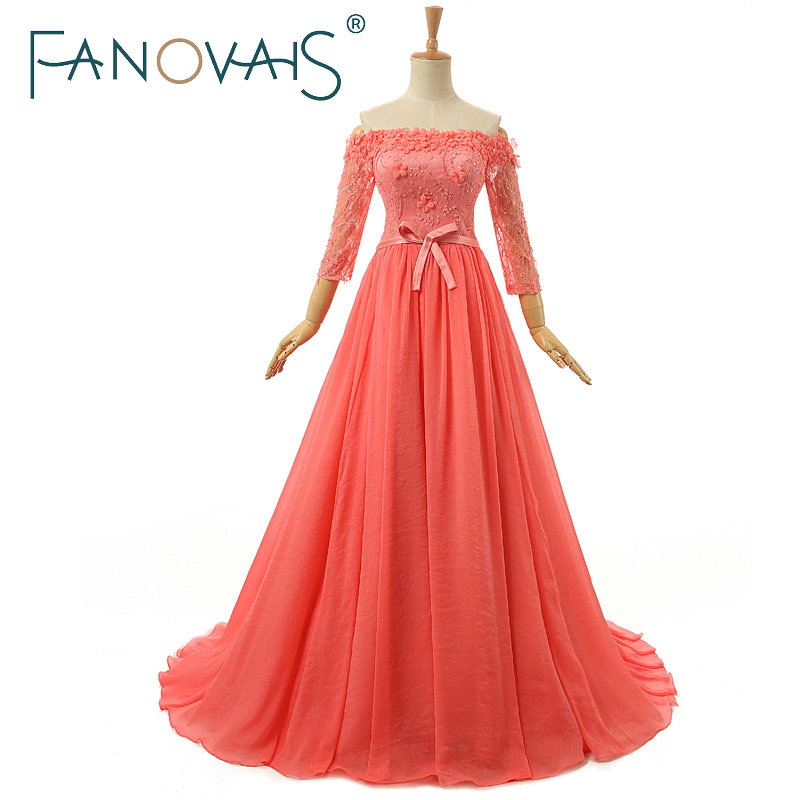Abiti da sera rosa 2019 Paillettes in rilievo Off spalla Abito da sera vestido de festa robe de mairee lucury abito da sera formale