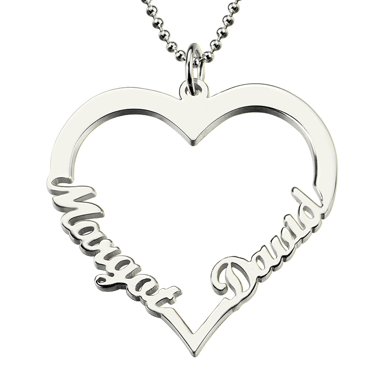 Wholesae Customized Heart Name im Silver Necklace Couples