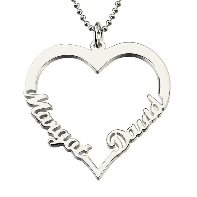 f2ee0f725d4a Wholesae corazón personalizado nombre im plata parejas collar corazón  colgante con 2 nombres amor para su