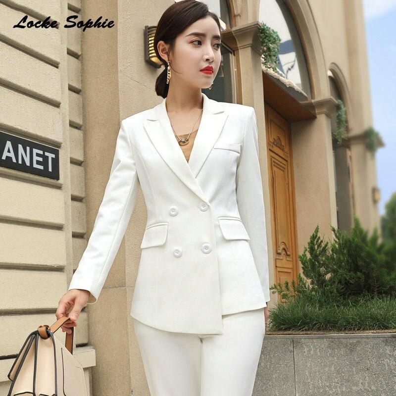 Women's Plus Size Blazers Coats 2019 Autumn Cotton Blend Double-breasted Suits Jackets Ladies Skinny Office Blazers Suits Coat