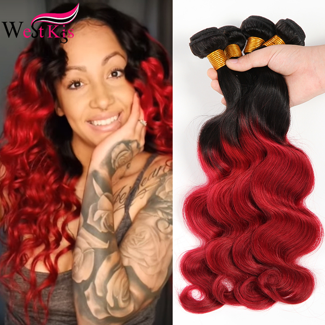 West Kiss Ombre Human Hair Extensions Two Tone 1b Red Brazilian Body