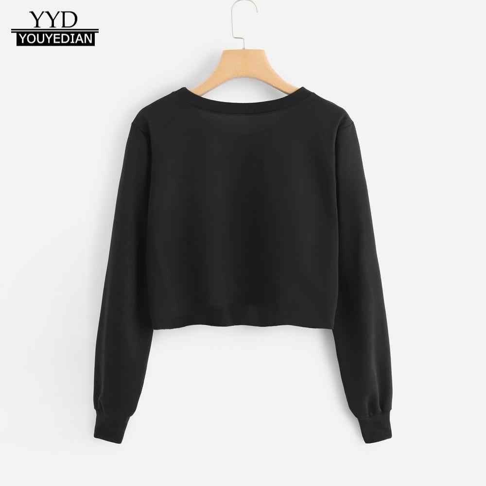 66a8ec57c9cb8 Detail Feedback Questions about sweat femme Black Hoodie Women s Long  Sleeve Letter Print Crop Sweatshirt Pullover Tops woman clothes 2018  sudadera mujer on ...