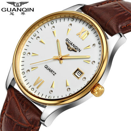 ФОТО Watch men Top Brand GUANQIN classic dress watches waterproof quartz wristwatches Luxury fashion Genuine leather Men watch