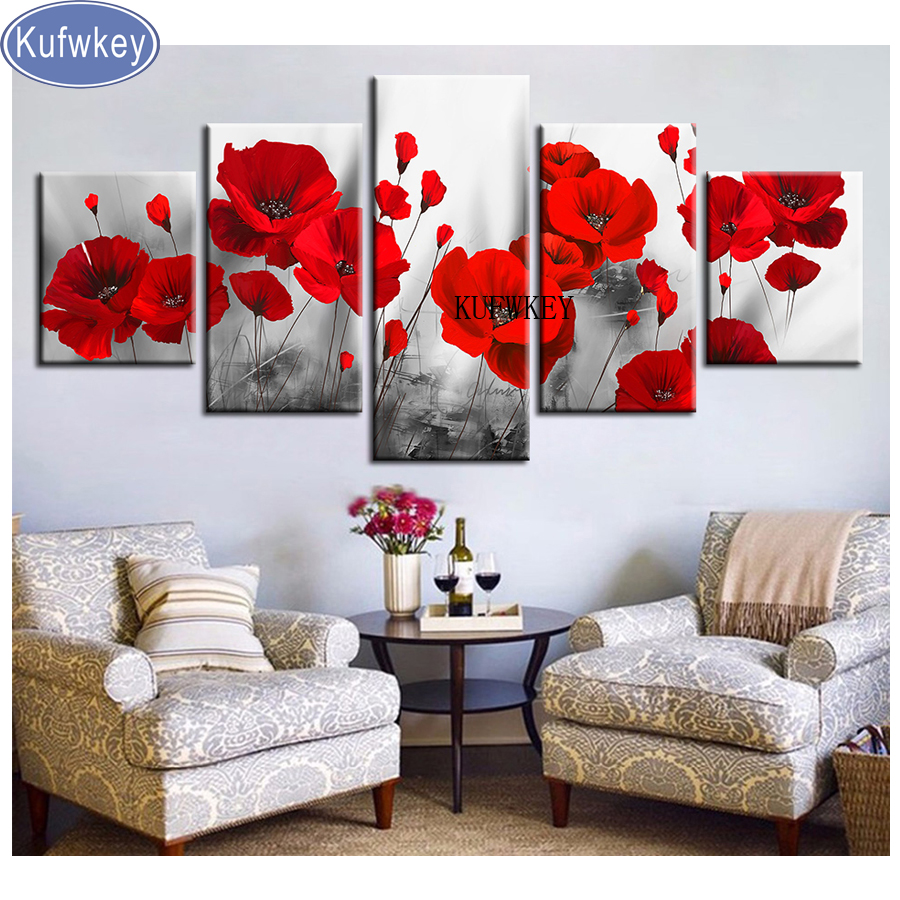 Multi pictures Diamond Embroidery sale Poppies Diamond Painting 5 Pieces Cross Stitch mosaic puzzle 5d full