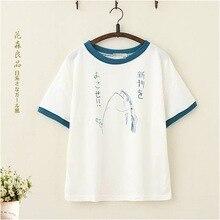 1b2c67810 Contrast O-neck Short Sleeve Japanese Letter Graffiti Fish Graphic Print Streetwear  Korean Tee Top