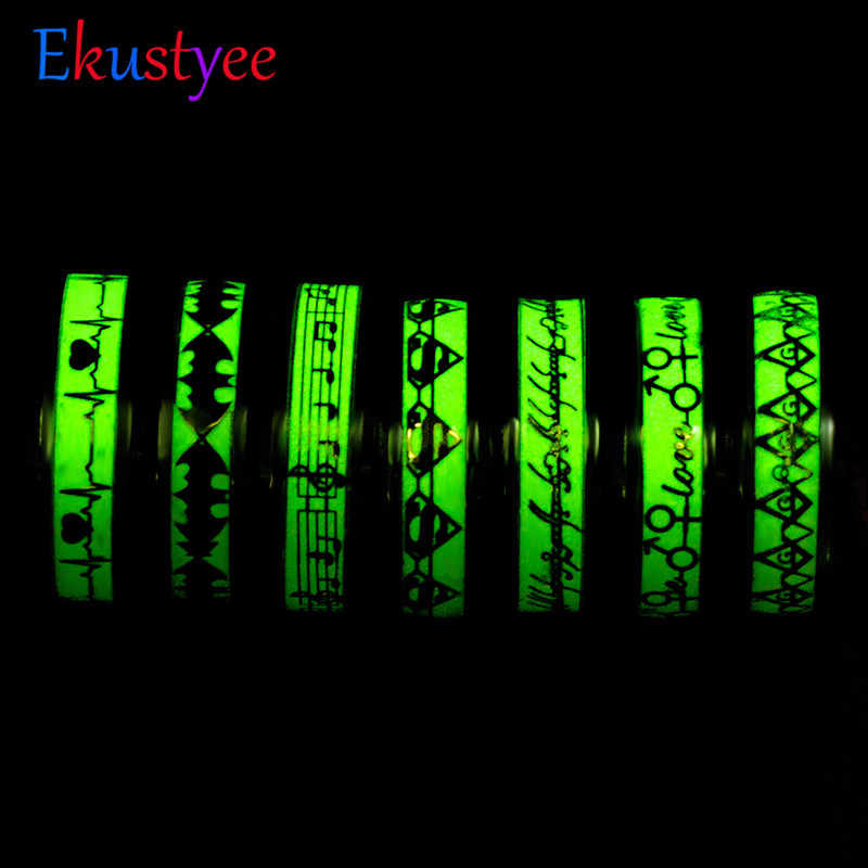 Fashion Luminous Plated silver Ring Dark Golden Dragon Inlay Green Background Fashion Men Fluorescent Glowing Rings