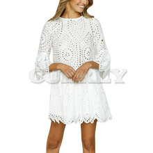 Cuerly Fashion Lace Floral Dress Womens Summer Half Sleeve Casual Loose Mini Dresses Party Elegant Lady O-Neck Princess