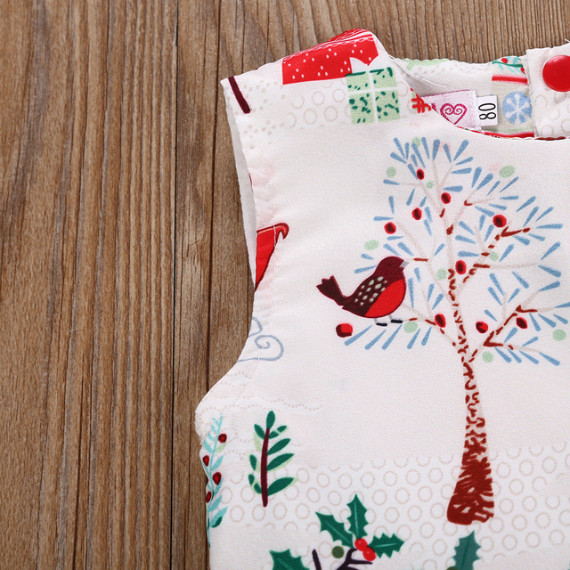 2-6 Years Xmas Toddler Kid Baby Girl Christmas Cartoon Deer Sleeveless Party Dress 2