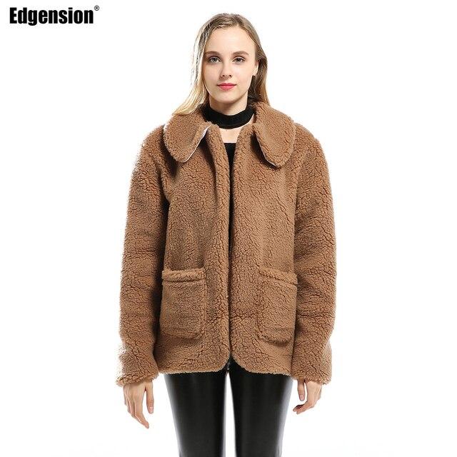 e4e908bf1ac Edgension Women's Thick Warm Lamb Wool Coat Jacket Oversized Long Lambswool  Parka Woman Thermal Lambwool Outerwear Plus Size