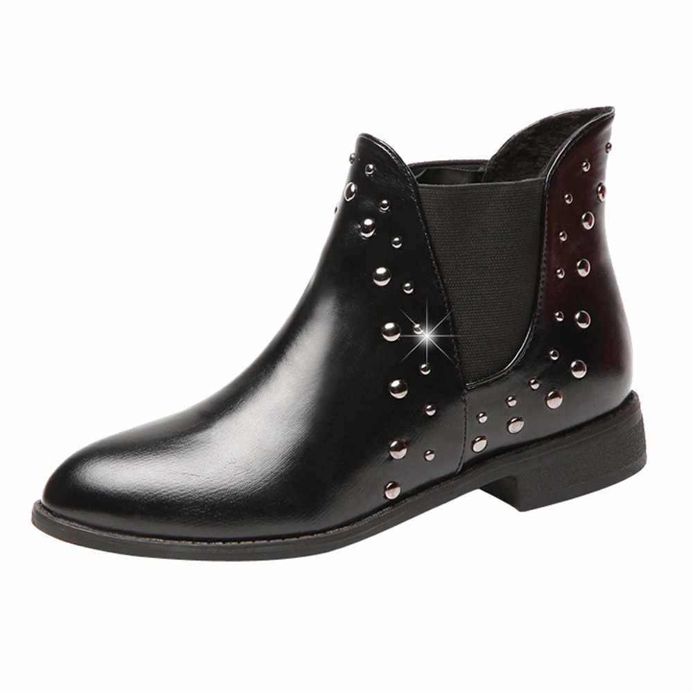 Punk Niet Martin Stiefel Frauen Marke Spitz Leder Booties Verzierte Thick Low Heels Chelsea Ankle Botas Plüsch Schuhe Winter
