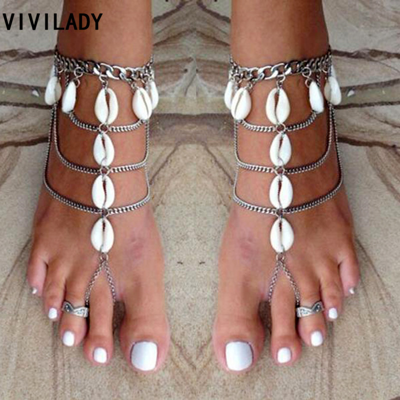 VIVILADY Bohemian Handmade Natural Shell Layers Metal Chain Anklets Women Femme Holiday Party Foot Jewelry Bijoux Accessory Gift
