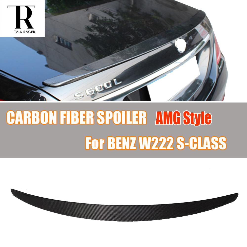 W222 S63 S65 AMG Style Carbon Fiber Rear Trunk Wing Spoiler for Mercedes Benz W221 S400 S500 S600 S63 S65 2014 - 2017 w204 c180 c200 c260 c300 carbon fiber car rear trunk lip spoiler wing for mercedes benz w204 c63 4 door 2008 2013 amg style