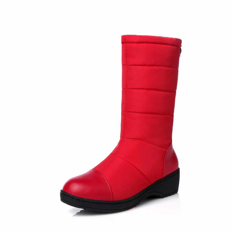 MEMUNIA 2020 artı boyutu 44 kadın kar botları pu + Aşağı Su Geçirmez kaymaz sıcak tutmak düz platform ayakkabılar yarım kadın kışlık botlar