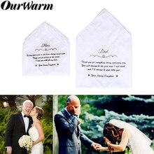 Ourwarm 2 шт свадебный хлопковый носовой платок с кружевным карманом, индивидуальные носовые платки для папы, мамы, невесты, подарок, свадебные принадлежности, белые