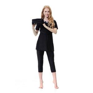 Image 2 - YONGSEN müslüman mayo islam bayan muhafazakar mayo tam kapak plaj etekler müslüman Burkinis kısa kollu banyo