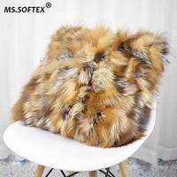 MS.Softex Natural Fo Fur Pillowcase Real Fox Skin Pillow Cushion Plush Fur Cushion Cover Genuine Fur homes FREE SHIPPING