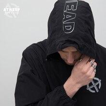 ATHIEF Flut karte bewegung jacke männlichen Erhalt ärmeln brief druck reißverschluss mantel street Schaukel Freizeit Jacken