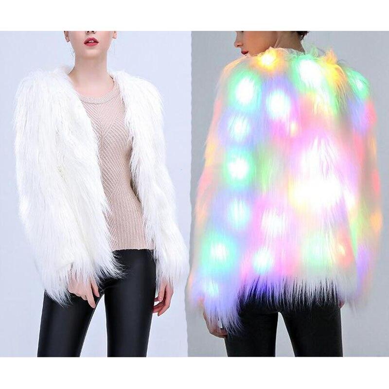 Fashion Winter Women LED Faux Fur Coat Luminous Warm Jacket Ladies Outwear Xmas Party Costumes Plus Size S-3XL H9