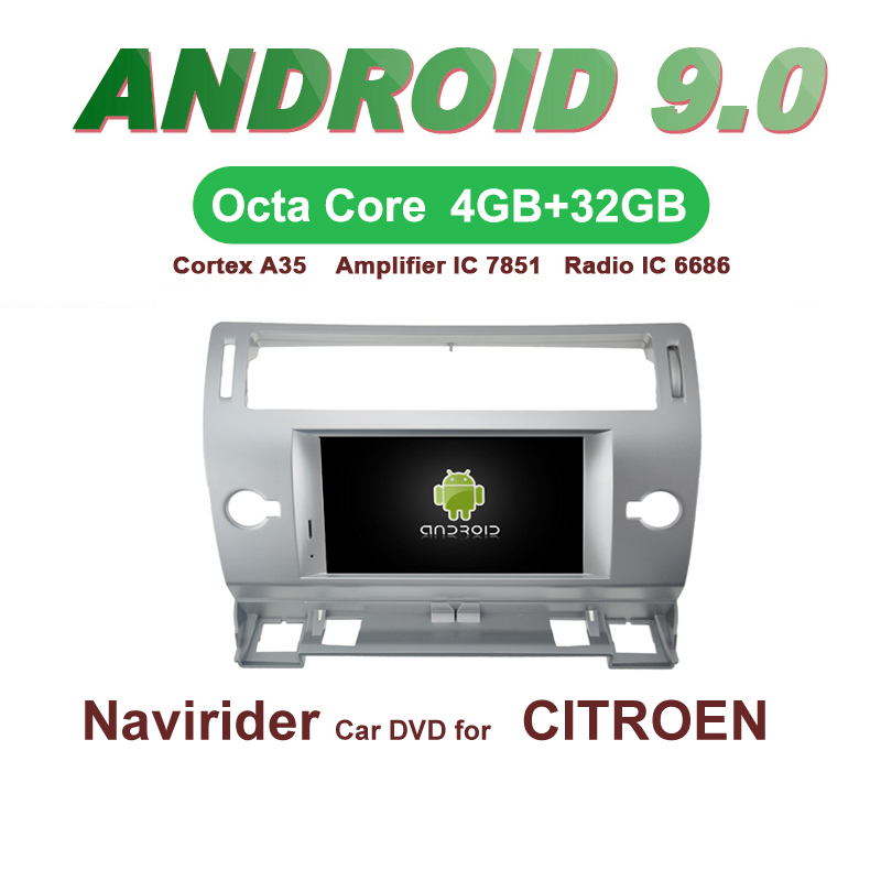 OTOJETA Car GPS Android 9.0 Radio FOR CITROEN C4 silver frame Navigation integrated DVD Capacitive screen Support Mirror LinkOTOJETA Car GPS Android 9.0 Radio FOR CITROEN C4 silver frame Navigation integrated DVD Capacitive screen Support Mirror Link
