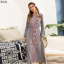 אופנתי מוסלמי העבאיה הדפסת מקסי שמלה ארוך שרוול ארוך שמלת אתני קימונו שמלות הרמדאן מזרח התיכון ערבית אסלאמי בגדים