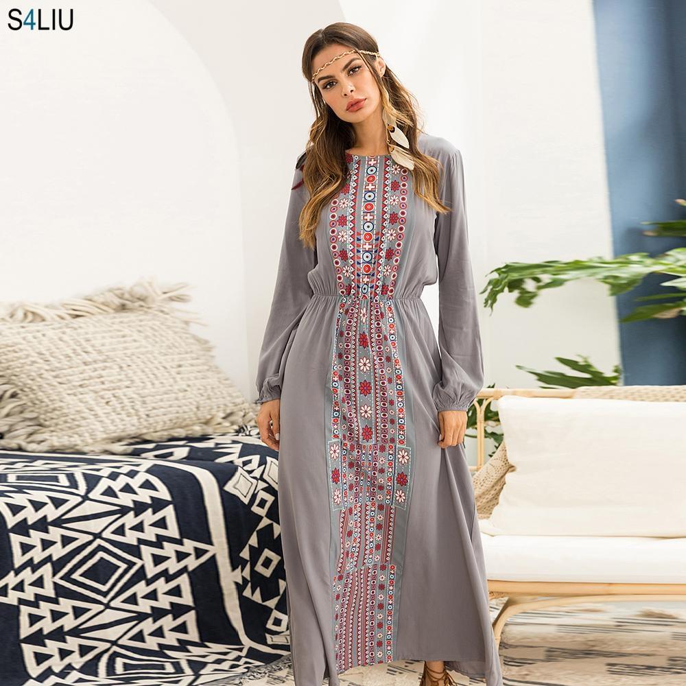 Stylish Muslim Abaya Print Maxi Dress Long Sleeve Long Dress Ethnic Kimono Dresses Ramadan Middle East Arabic Islamic Clothing