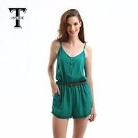 T Inside 2016 Women Jumpsuit Spaghetti Top with Lace Edged Shorts Belt Free Comfortable Daily Wear Women Rompers Brand New
