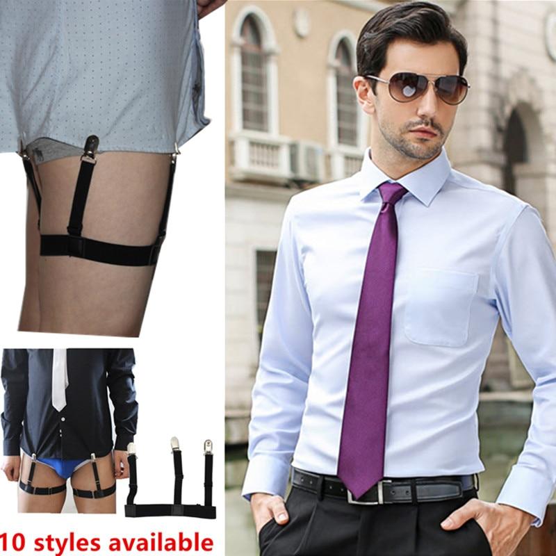 2 Pcs Men Shirt Stays Garters Suspenders Braces Gentleman Leg Elastic Suspender