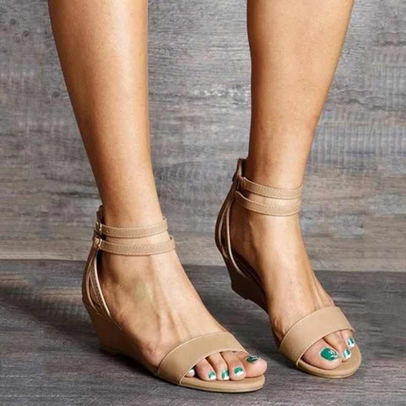Adisputent الصيف النساء بلون الكاحل حزام الصنادل عالية الكعب حزام حذاء كاجوال
