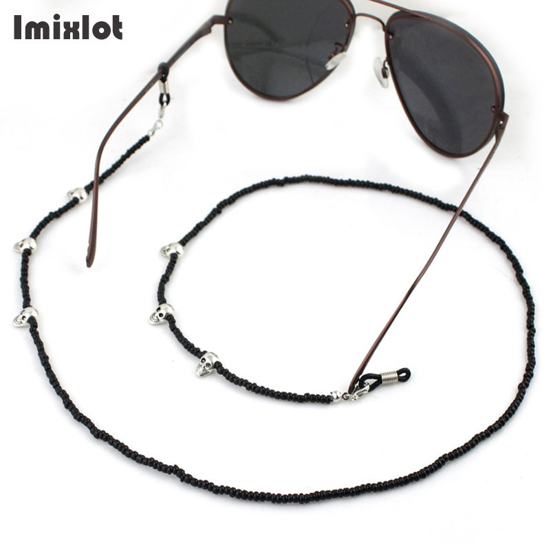 9cab627329f7 Imixlot 3pcs Skull   Black Beads Eyeglass Chain Eyewear Accessories  Sunglasses Reading Glasses Chain Cord Holder Neck Strap Rope