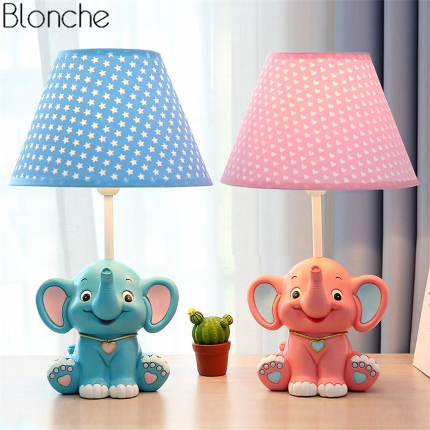 Modern Cartoon Elephant Table Lamp Led Desk Light Fabric ...