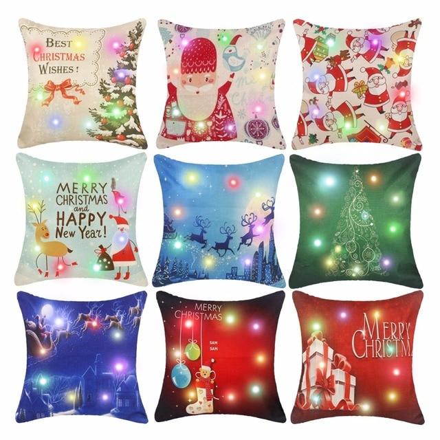 FENGRISE 45x45cm Pillow Case Christmas Decorations For Home Santa Clause Christmas Deer Cotton Linen Cover Cushion Home Decor 6