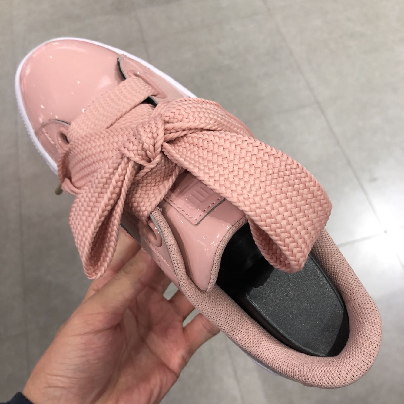 Original Puma Women's Basket Heart Patent Wn's Fashion Sneaker Lifestyle Badminton Shoes Indoor Outdoor Sport Shoes In Pink
