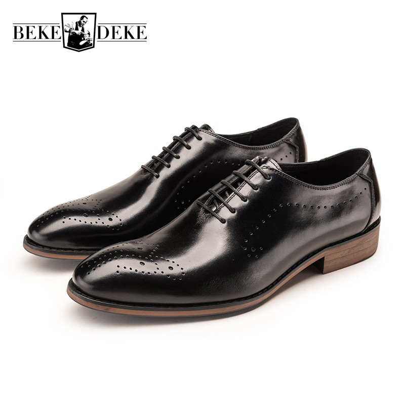 2018 Pointed Toe Wing Tip Brogue Mens Oxfords Shoes Genuine Leather Office Business Man Footwear Lace Up British Formal Shoes pjcmg new black red mens oxfords crocodile pattern lace up pointed toe genuine leather business formal men wedding office shoes