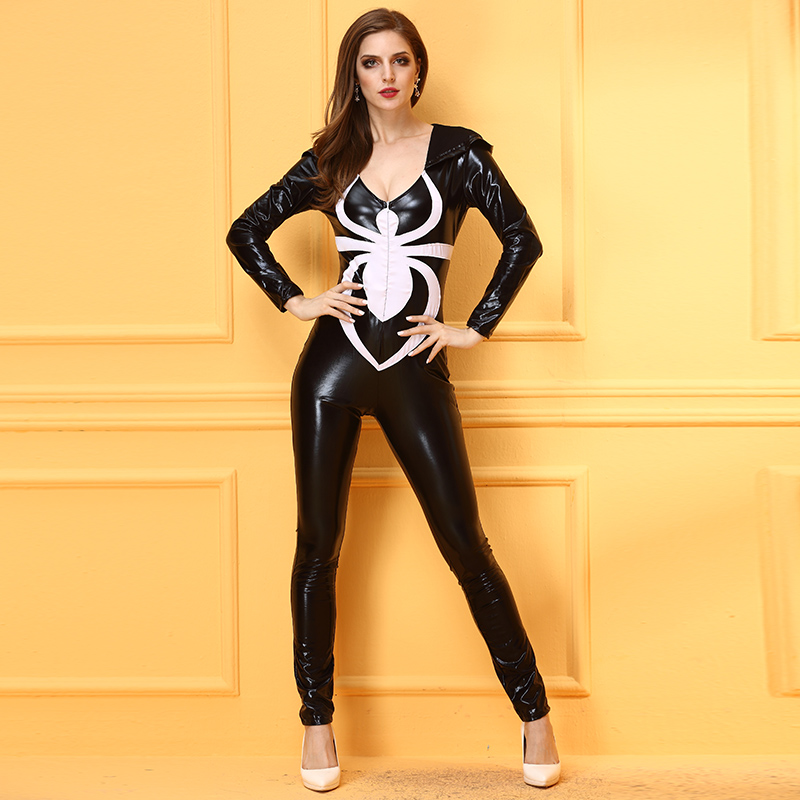 Halloween Masquerade New Black Woman Spider Cosplay Costume Imitation leather Bodysuit Sexy Woman Super Hero Role Play Disfraces