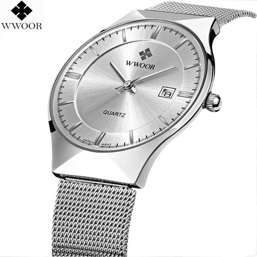 New 2019 WWOOR Ultra thin Fashion Male Wristwatch Top Brand Luxury Business Watches Waterproof Scratch resistant Men Watch Clock|Quartz Watches|Watches - title=