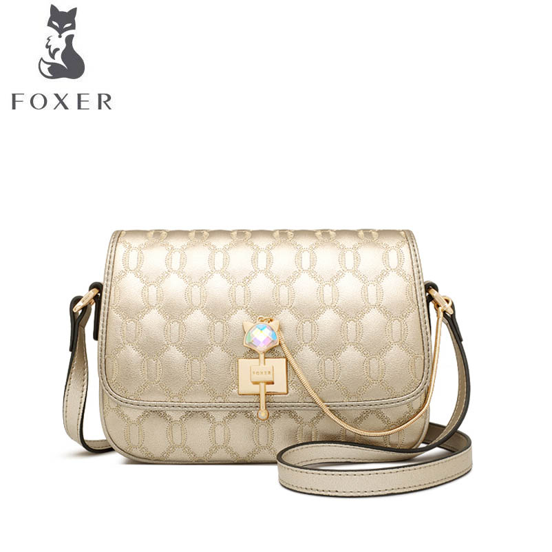 FOXER luxury fashion women's autumn and winter crossbody bag 2018 new chain style shoulder bag slung small square bag bag female 2018 new fashion sequins convenient bread bag chain small square bag shoulder slung dinner bag