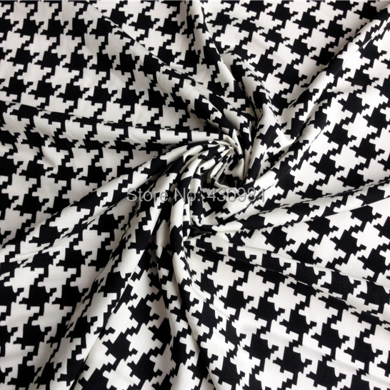 Houndstooth fabric fashions dress clothing soft cotton for Black and white childrens fabric