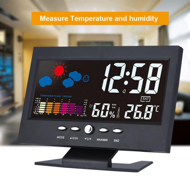 VBESTLIFE Smart Home Multifunction Indoor LCD Digital Temperature Humidity Weather Clock Vioce-activated  Alarm Smart Module