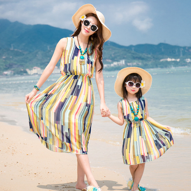 e7e4e94c195 mother daughter dresses 2019 new chiffon vest women s dress family clothing  Seaside Holiday Dress
