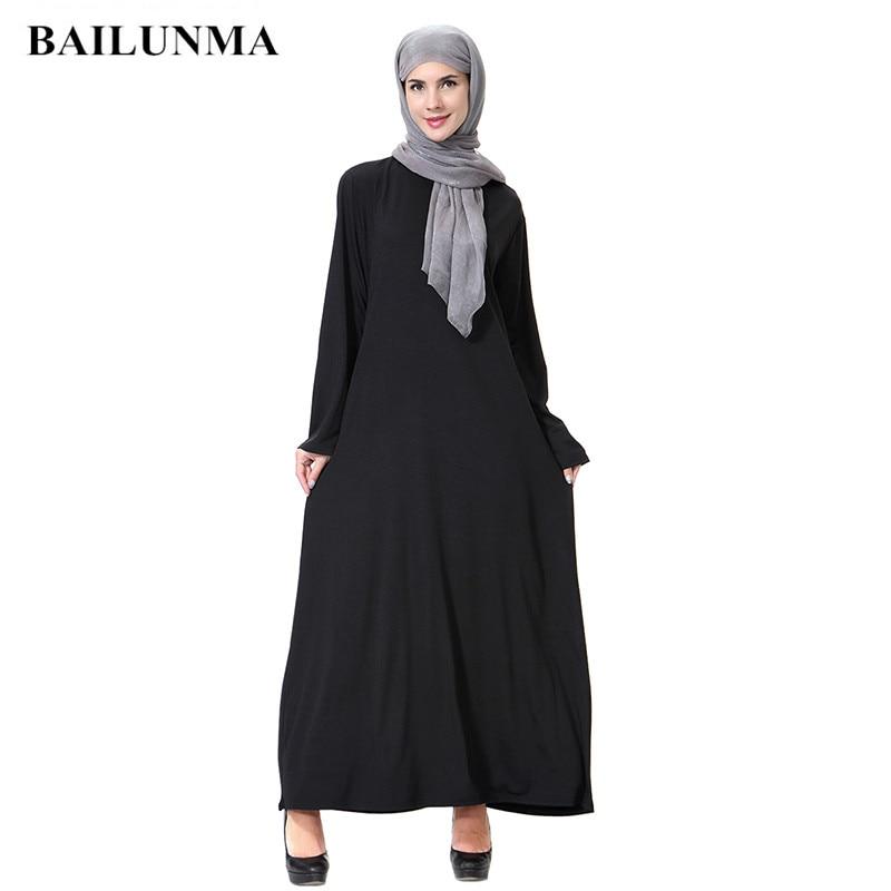 Dubai Islamic Clothing Muslim Abaya Kaftan Dubai Arabian Dress Namaz Elbisesi Black
